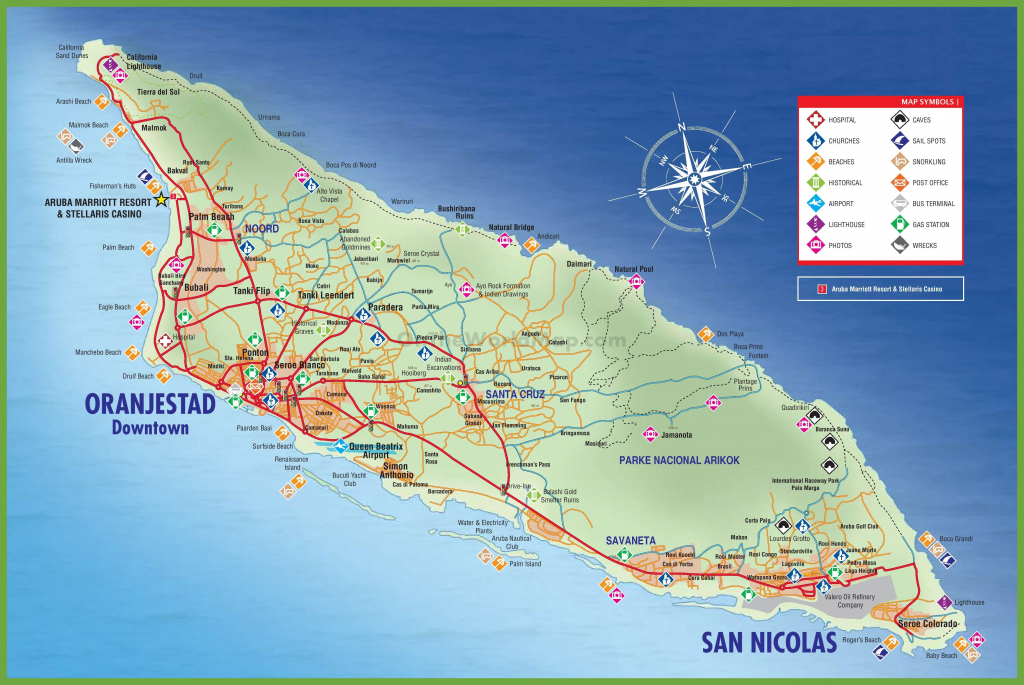 Large Detailed Tourist Map Of Aruba throughout Printable Map Of Aruba