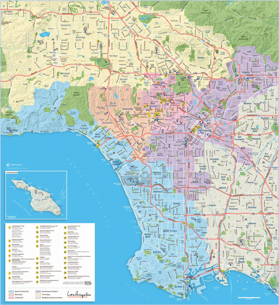 Large Detailed Tourist Map Of Los Angeles pertaining to Printable Map Of Los Angeles