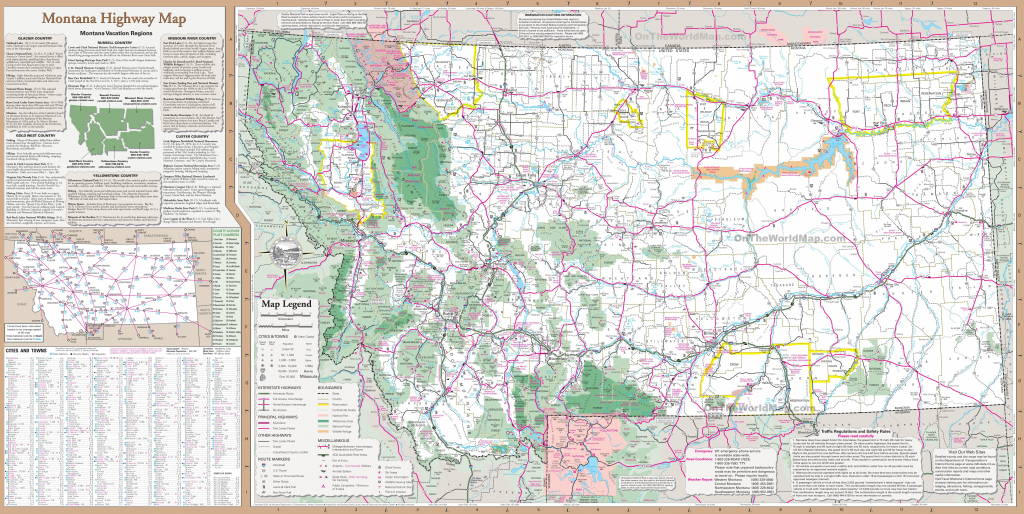 Large Detailed Tourist Map Of Montana With Cities And Towns regarding Printable Map Of Montana