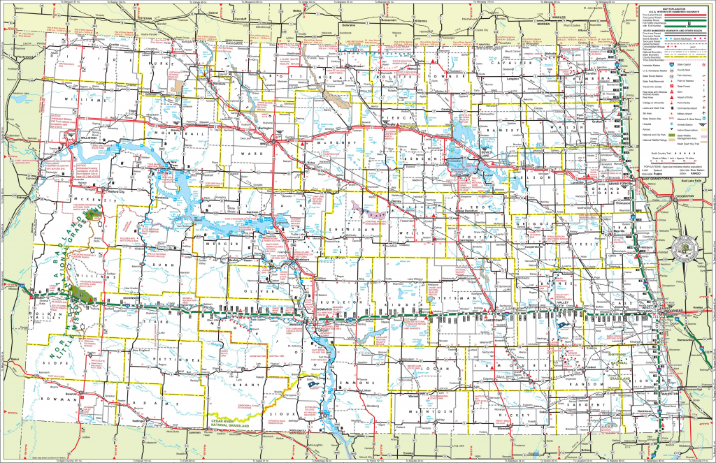 Large Detailed Tourist Map Of North Dakota With Cities And Towns inside Printable Map Of North Dakota
