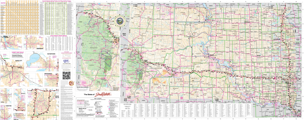Large Detailed Tourist Map Of South Dakota With Cities, Towns And with Printable Map Of South Dakota