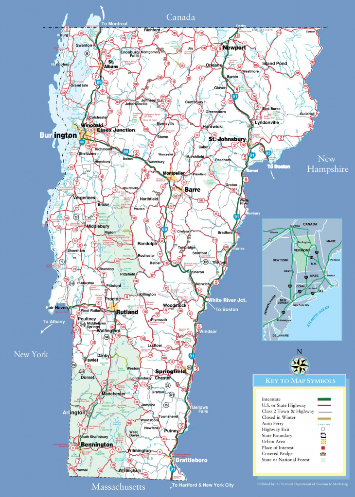 Large Detailed Tourist Map Of Vermont With Cities And Towns with regard to Printable Map Of Vermont