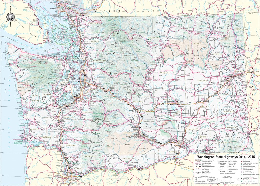 Large Detailed Tourist Map Of Washington With Cities And Towns intended for Washington State Road Map Printable