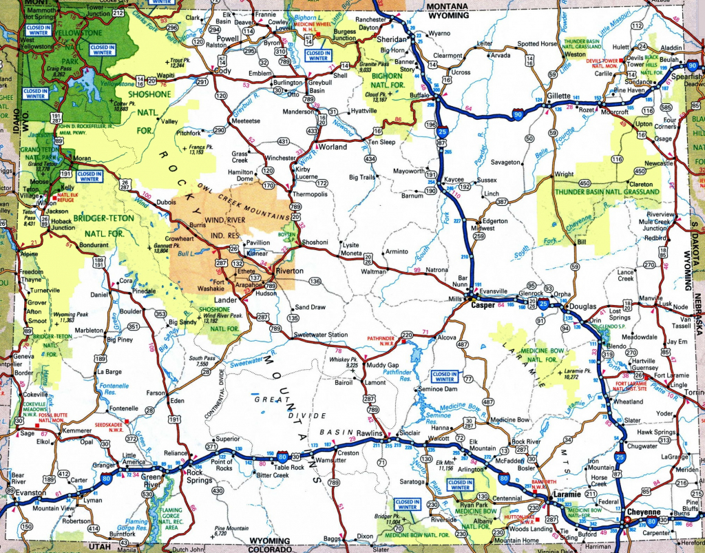 Large Detailed Tourist Map Of Wyoming With Cities And Towns in Wyoming State Map Printable