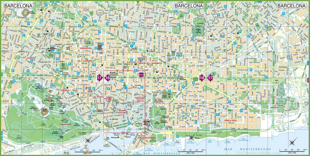 Large Detailed Tourist Street Map Of Barcelona inside Printable Map Of Barcelona