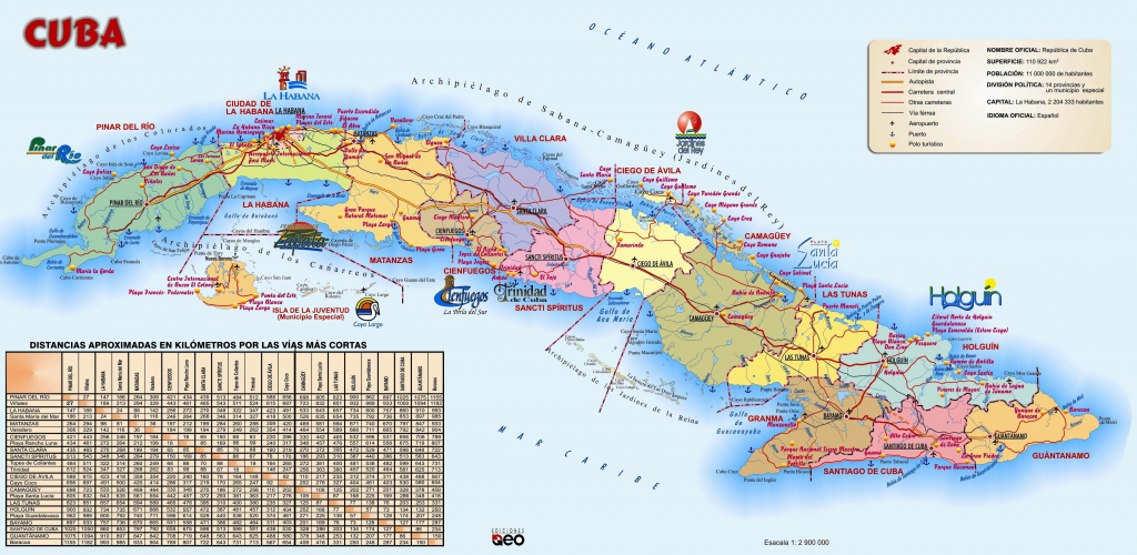 Large Detailed Travel Map Of Cuba with Printable Map Of Cuba