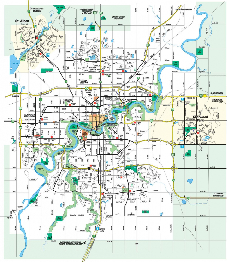 Large Edmonton Maps For Free Download And Print | High-Resolution intended for Printable Map Of Edmonton