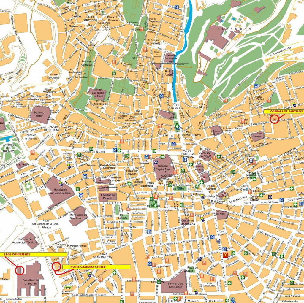 Large Granada Maps For Free Download And Print | High-Resolution And throughout Printable Street Map Of Granada Spain