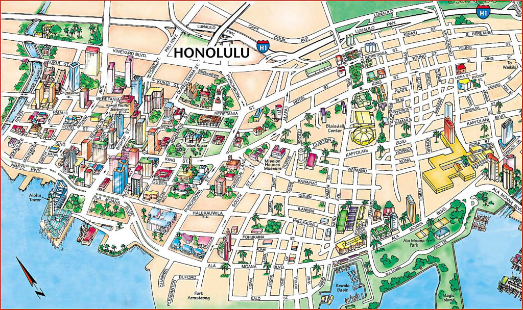 Large Honolulu Maps For Free Download And Print   High-Resolution in Printable Map Of Waikiki