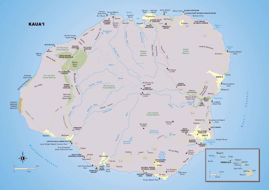 Large Kauai Island Maps For Free Download And Print | High for Large Printable Map