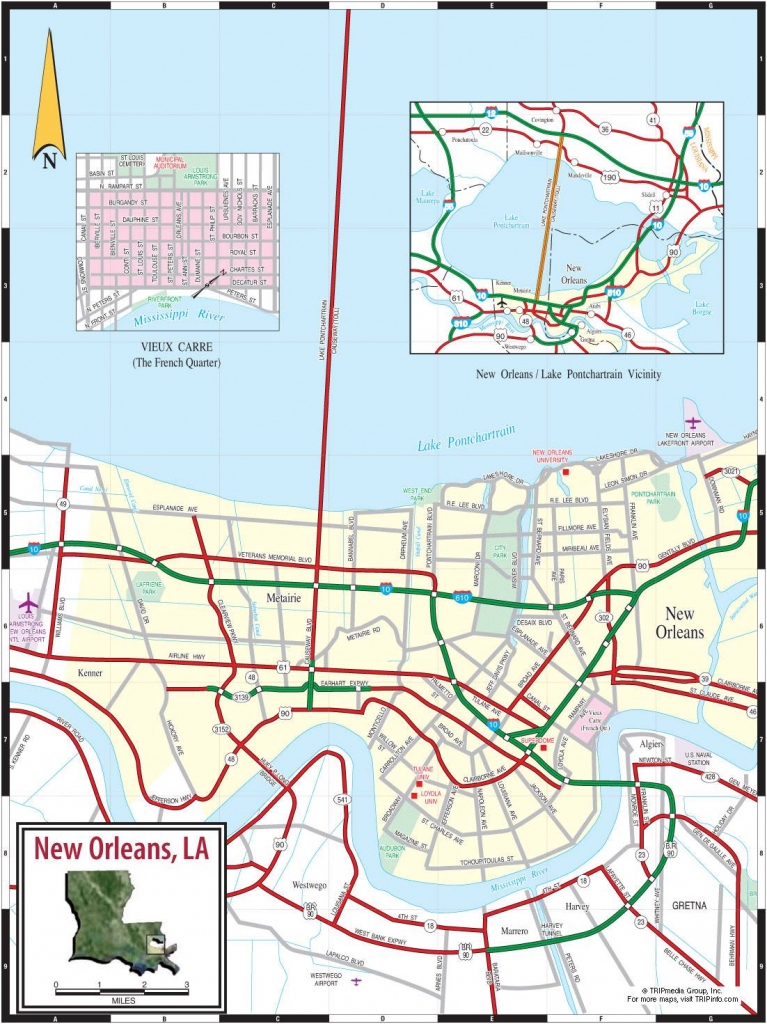 Large New Orleans Maps For Free Download And Print   High-Resolution in Printable Map Of New Orleans