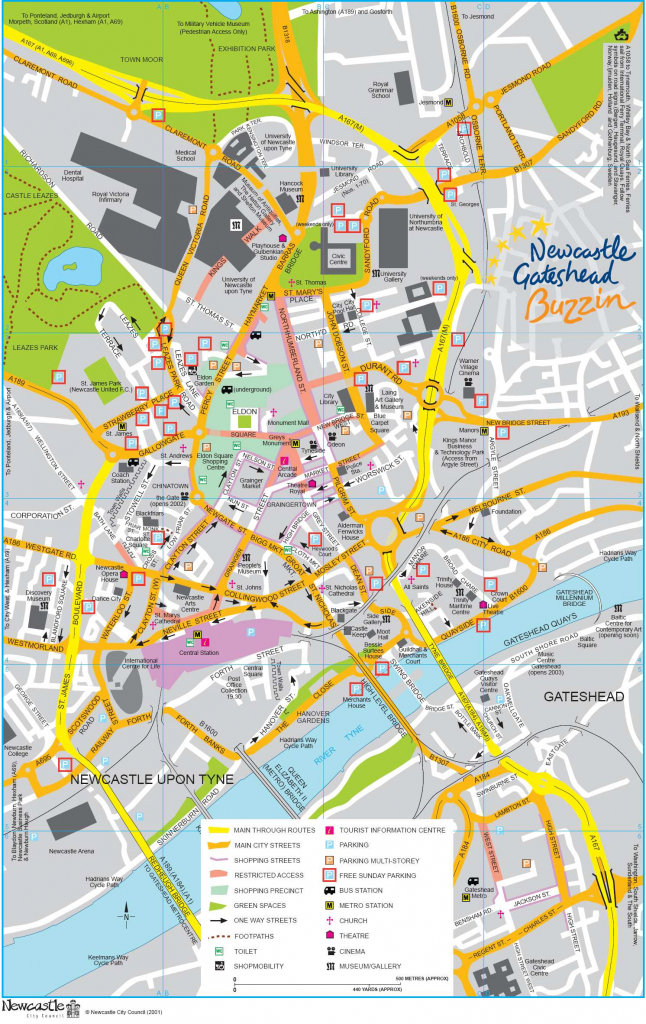 Large Newcastle Maps For Free Download And Print | High-Resolution inside Printable Street Map Of Harrogate Town Centre