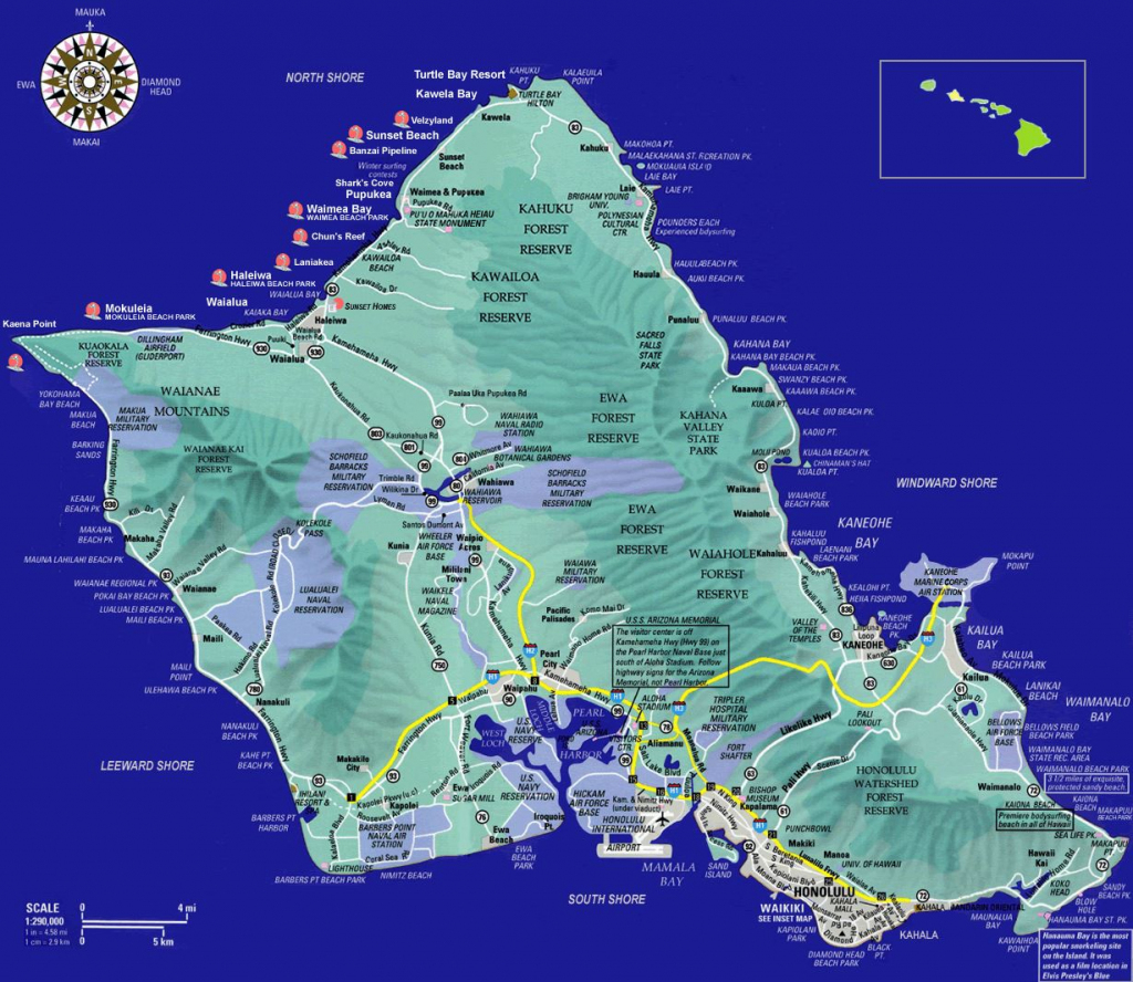 Large Oahu Island Maps For Free Download And Print | High-Resolution within Oahu Map Printable