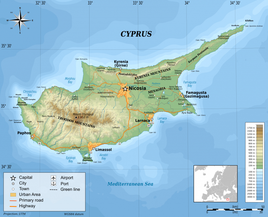 Large Physical Map Of Cyprus pertaining to Printable Map Of Cyprus