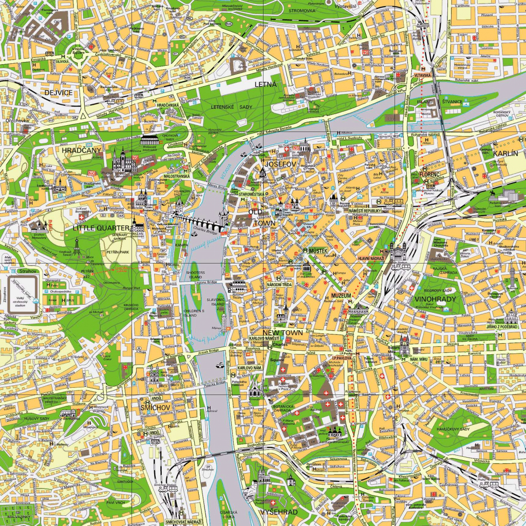 Large Prague Maps For Free Download And Print | High-Resolution And regarding Prague City Map Printable