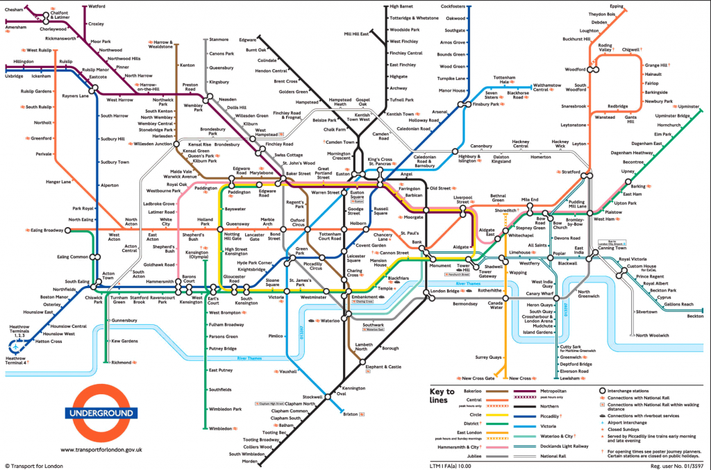Large View Of The Standard London Underground Map - This Is Exactly with Central London Tube Map Printable