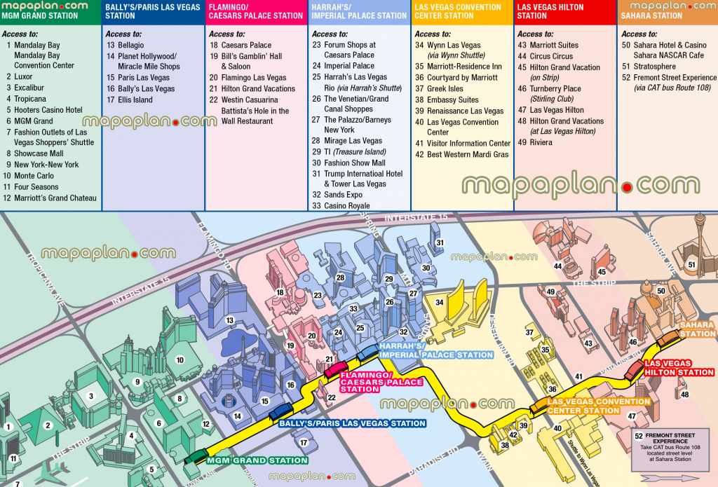 Las Vegas Maps - Top Tourist Attractions - Free, Printable City with Printable Map Of Las Vegas Strip