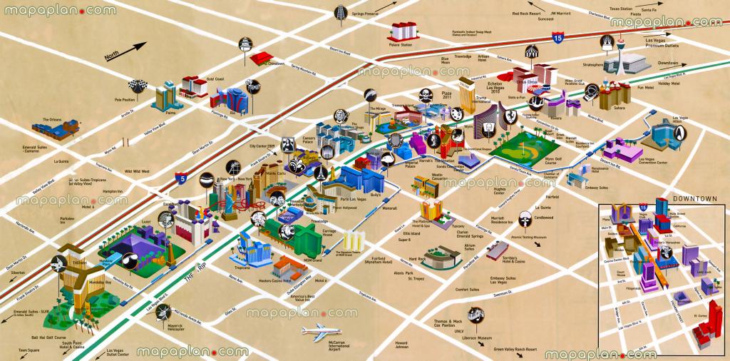 Las Vegas Maps - Top Tourist Attractions - Free, Printable City within Printable Map Of Las Vegas Strip