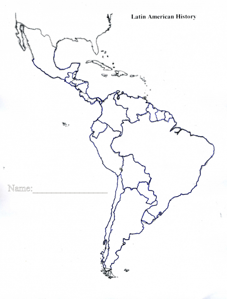 Latin America Map Quiz Printable Blank Of Us And South Central 4 throughout Blank Map Of Latin America Printable