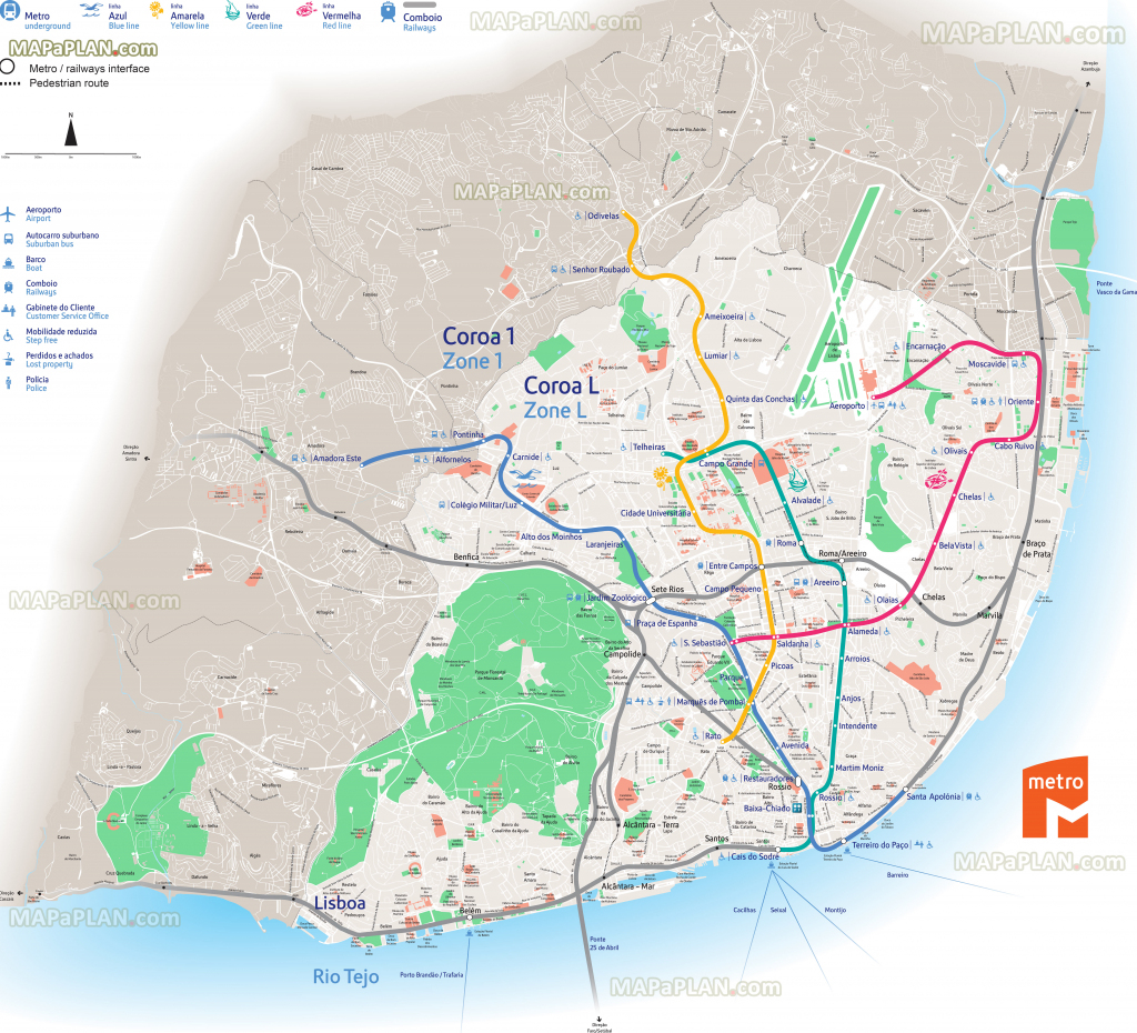 Lisbon Maps - Top Tourist Attractions - Free, Printable City Street Map with Lisbon Metro Map Printable