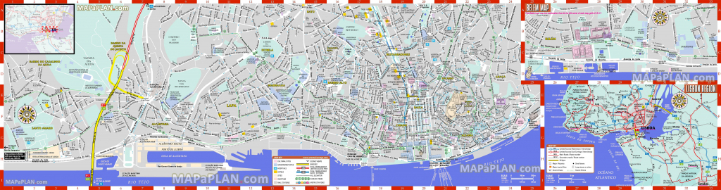 Lisbon Maps - Top Tourist Attractions - Free, Printable City Street Map with Lisbon Tourist Map Printable