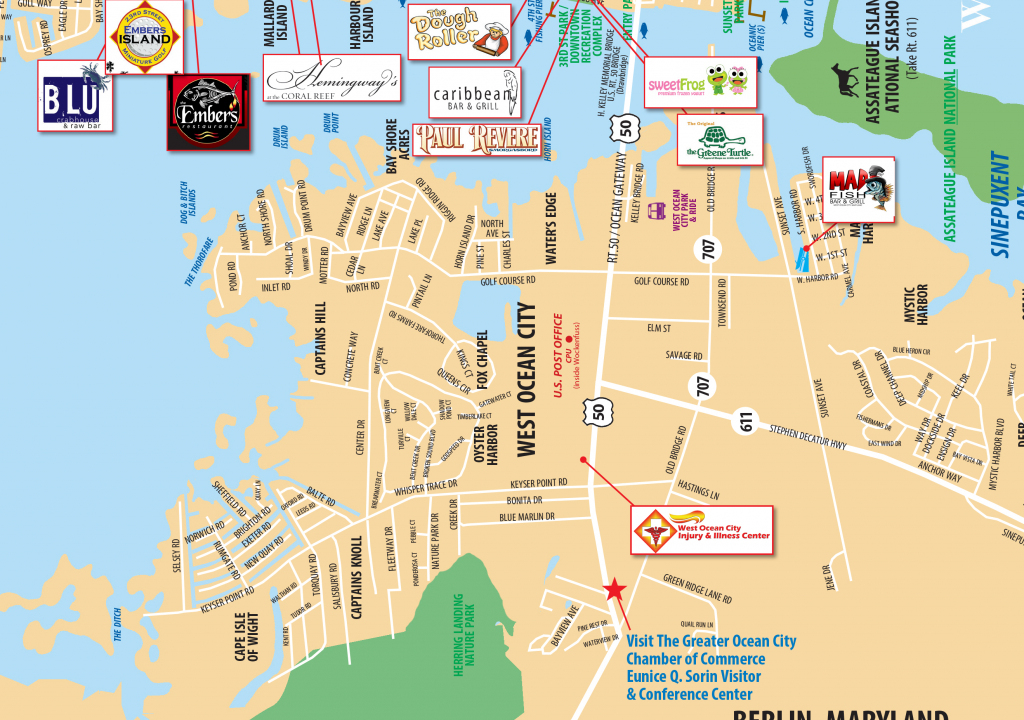 Local Maps | Ocean City Md Chamber Of Commerce regarding Printable Local Street Maps