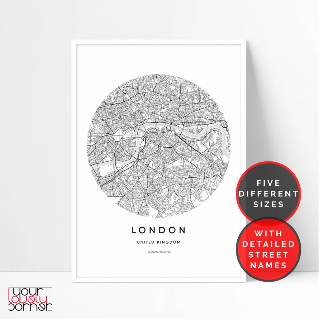 London Map Print London City Map Printable Wall Art Circle | Etsy regarding Circle Map Printable