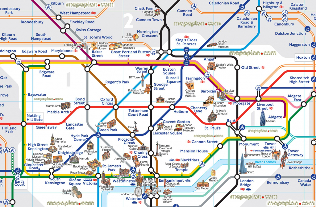 London Map Tube With Attractions Underground Throughout Places Of with regard to Printable London Tube Map