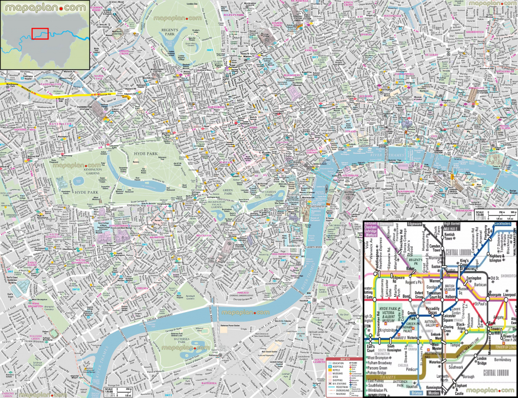 London Maps - Top Tourist Attractions - Free, Printable City Street throughout Printable Map Of London