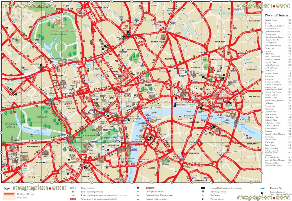 London Top Tourist Attractions Printable City Street Map - Printable for Printable Street Map Of Central London
