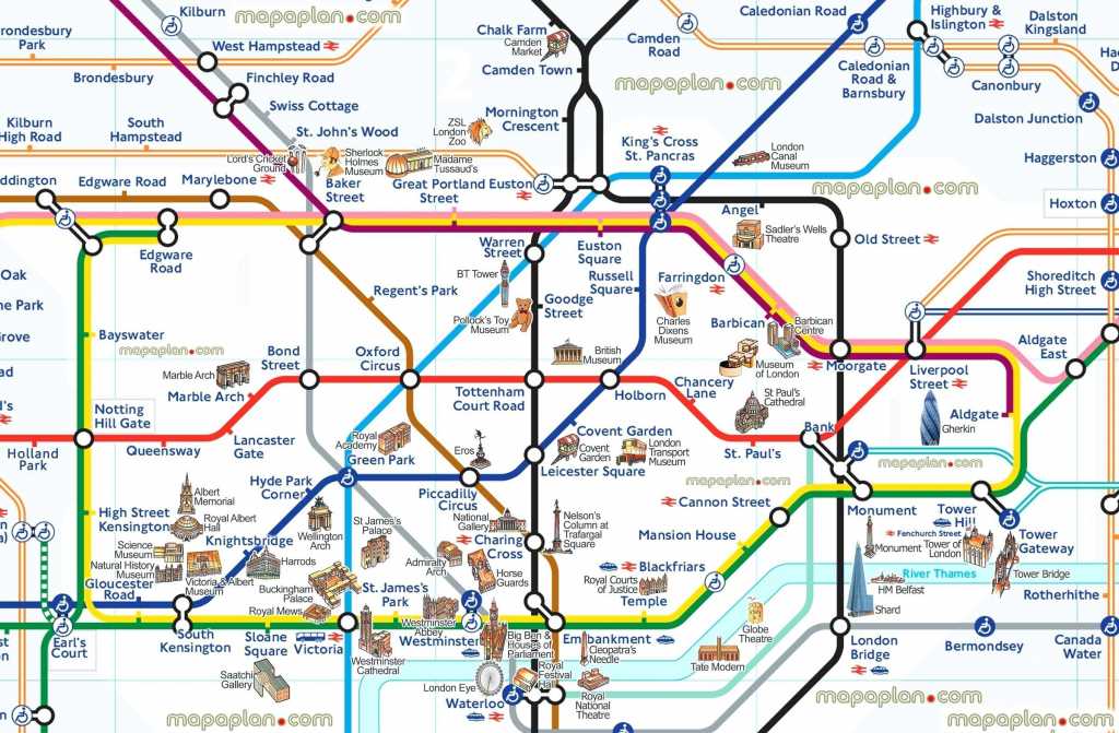 London Tourist Map Printable Tube Attractions Underground Stations with Printable Underground Map