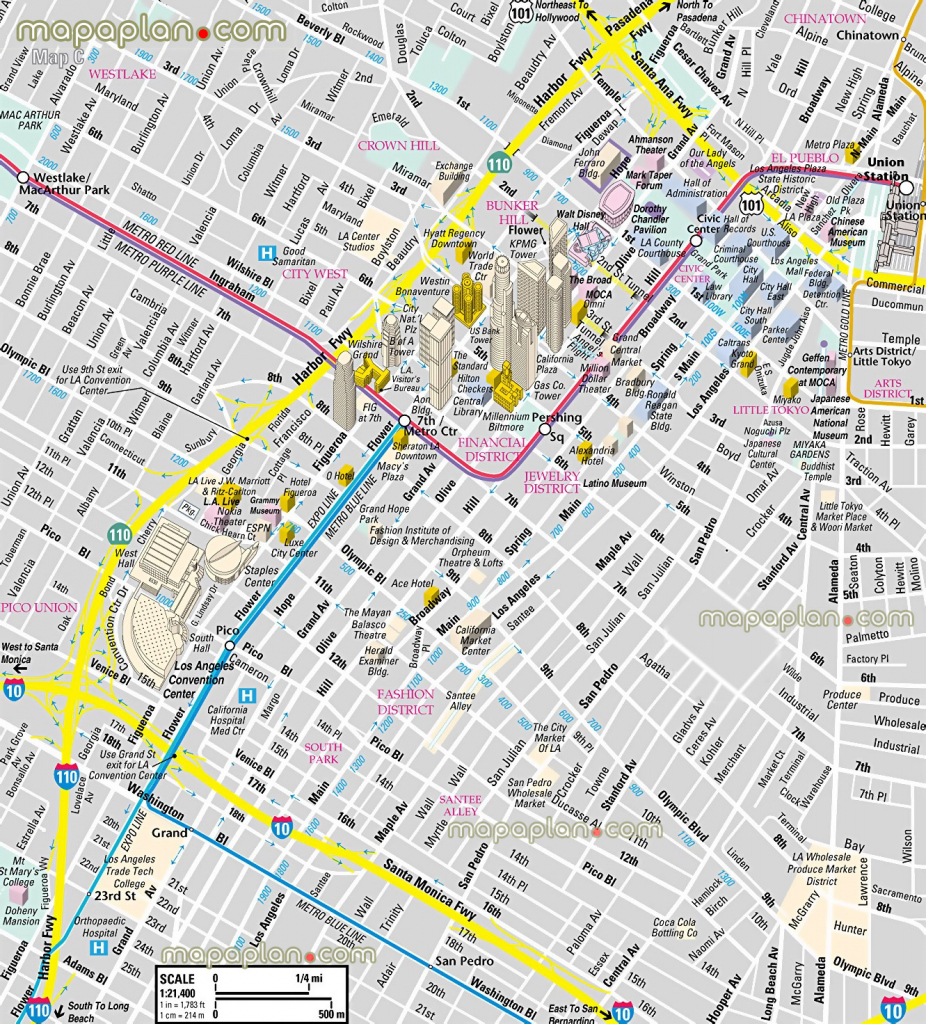 Los Angeles Map - Downtown Financial District - 3D Bird's Eye Aerial pertaining to Free Printable Aerial Maps