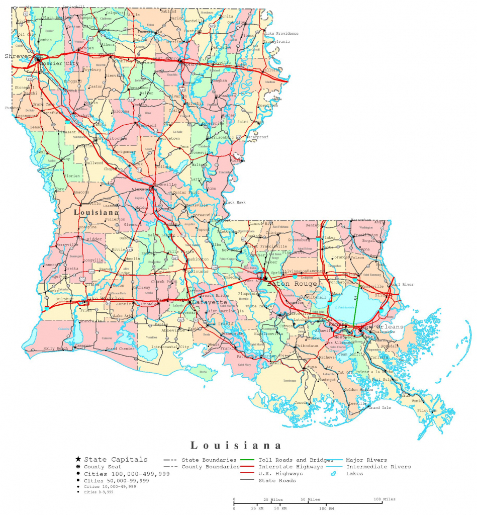 Louisiana Printable Map throughout Printable Map Of Louisiana
