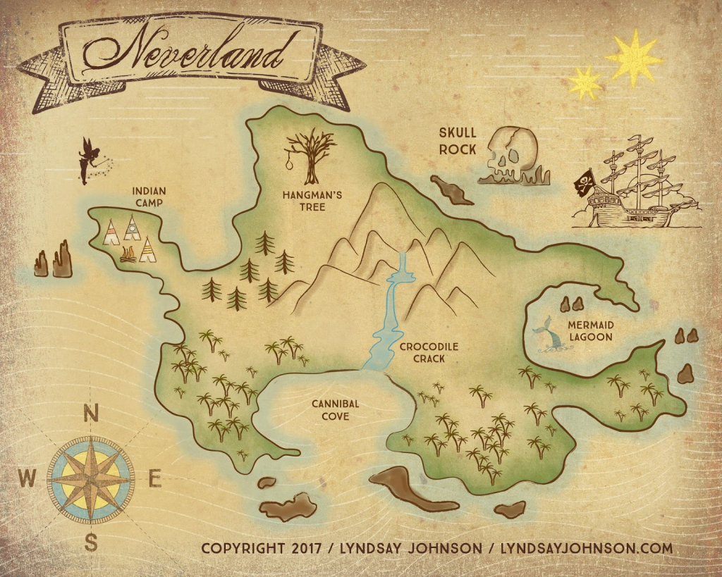 Lyndsay Johnson: Neverland Map Downloadable Print inside Neverland Map Printable