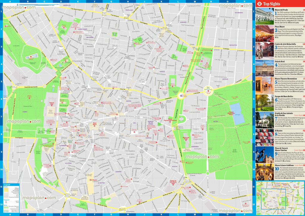 Madrid Maps - Top Tourist Attractions - Free, Printable City Street within Madrid City Map Printable