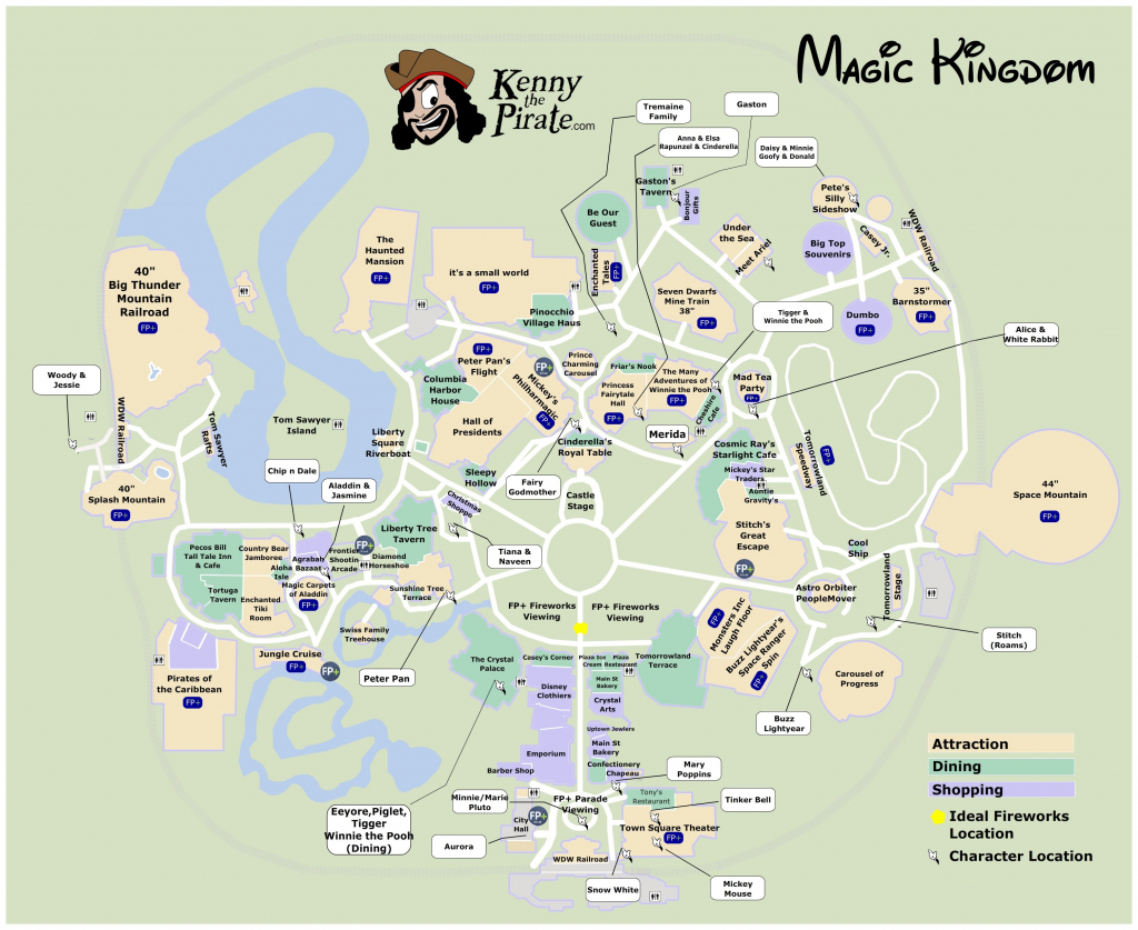 Magic Kingdom Character Location Map | Kennythepirate's Unofficial in Printable Magic Kingdom Map