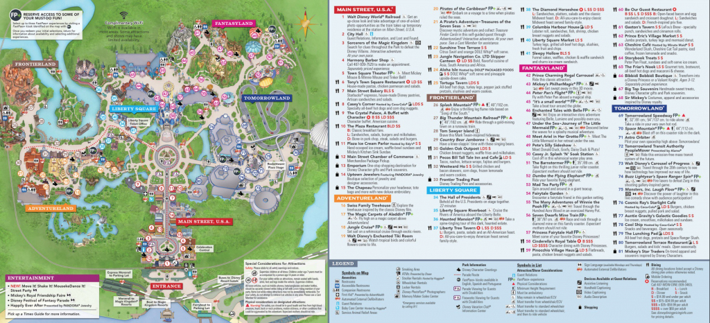 Magic Kingdom Park Map - Walt Disney World intended for Epcot Park Map Printable