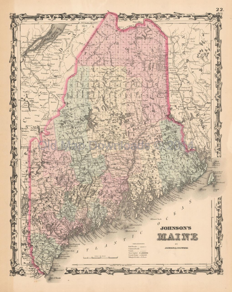 Maine Old Map Johnson 1861 Digital Image Scan Download Printable pertaining to Printable Map Of Maine
