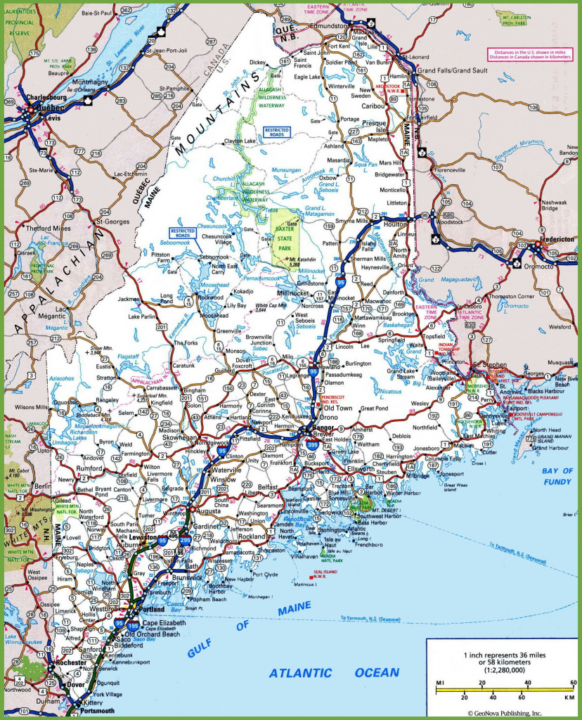 Maine Road Map with regard to Maine State Map Printable
