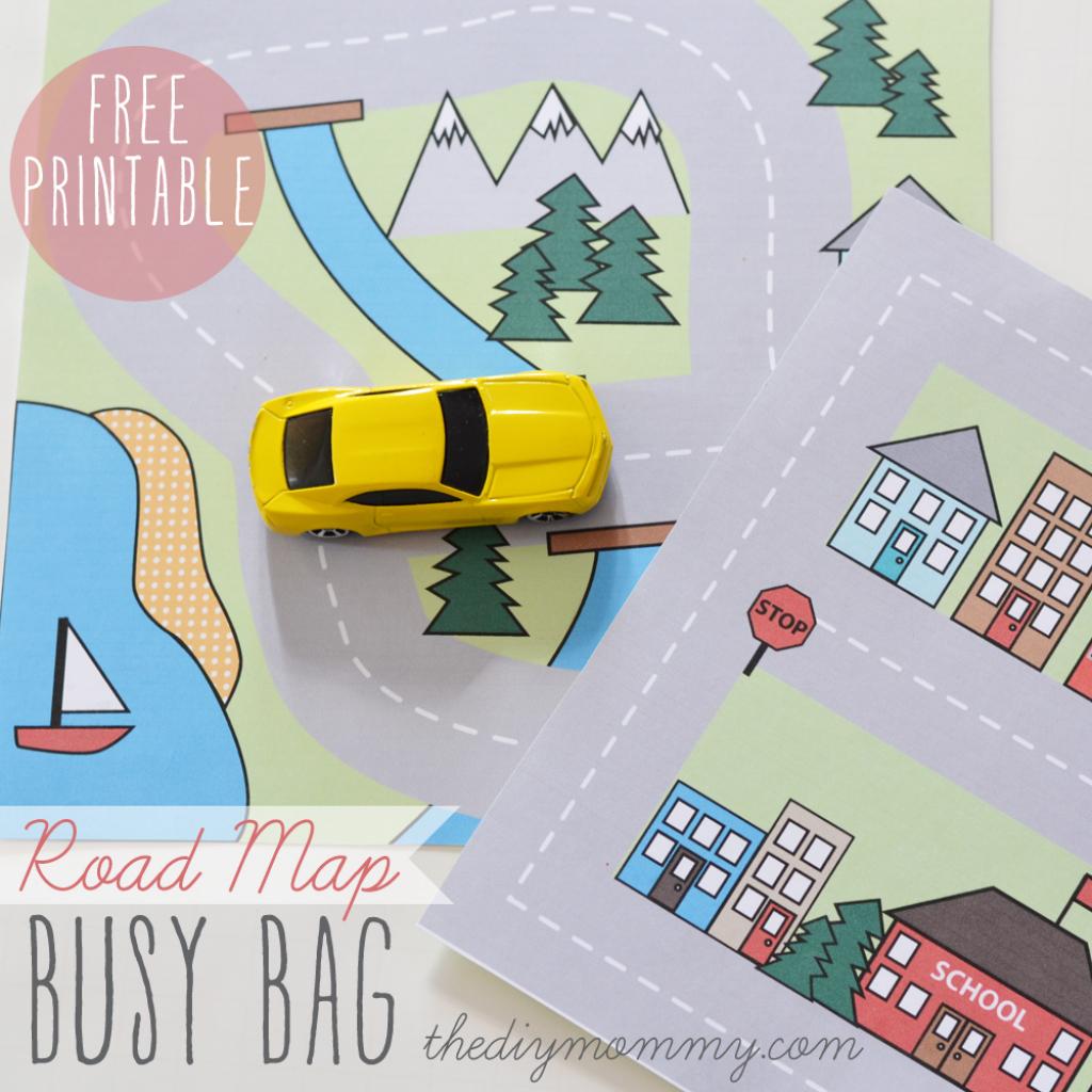 Make A Mini Road Map Busy Bag - Free Printable | The Diy Mommy with Free Printable Road Maps