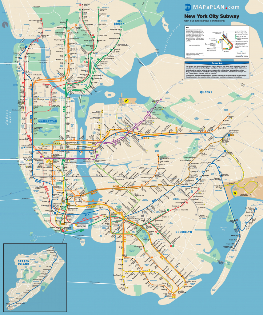 Manhattan Subway Map With Attractions Nyc Subway Map Printable pertaining to Printable Map Of Manhattan Nyc