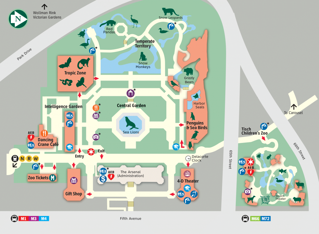 Map - Central Park Zoo in Bronx Zoo Map Printable