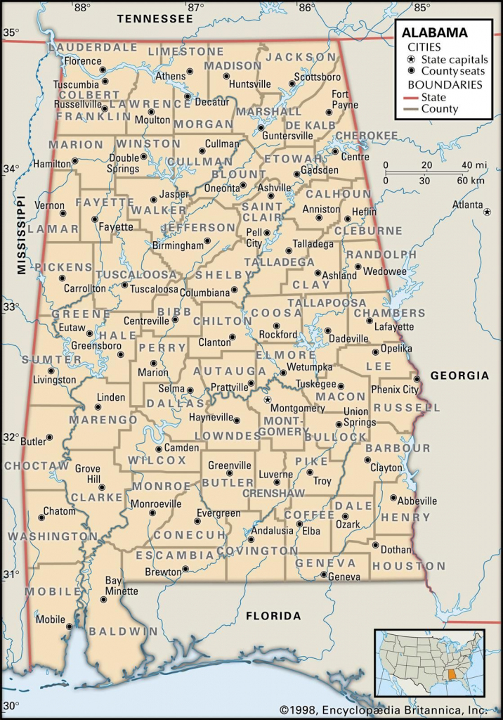 Map Of Alabama County Boundaries And County Seats. | Genealogy for Printable Map Of Alabama