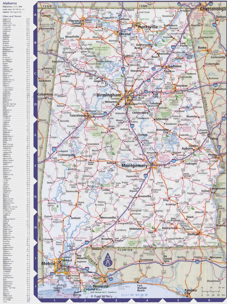Map Of Alabama With Cities And Towns inside Printable Map Of Alabama