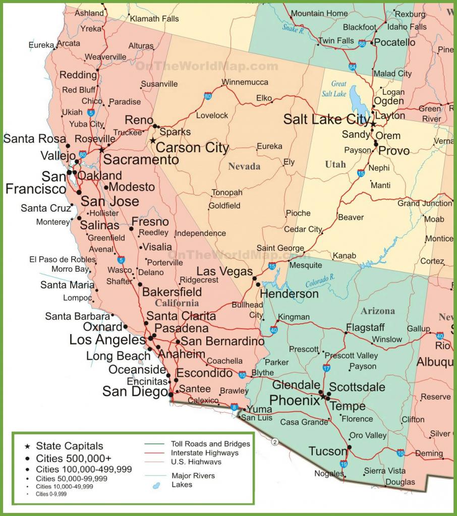 Map Of Arizona, California, Nevada And Utah within Printable Map Of Nevada