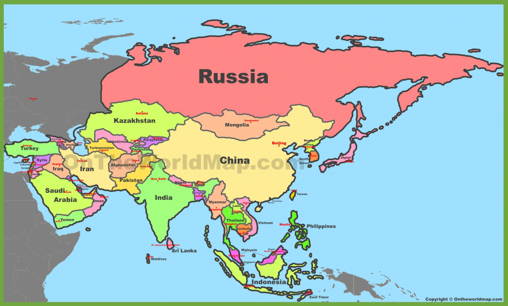 Map Of Asia With Countries And Capitals in Printable Map Of Asia With Countries And Capitals