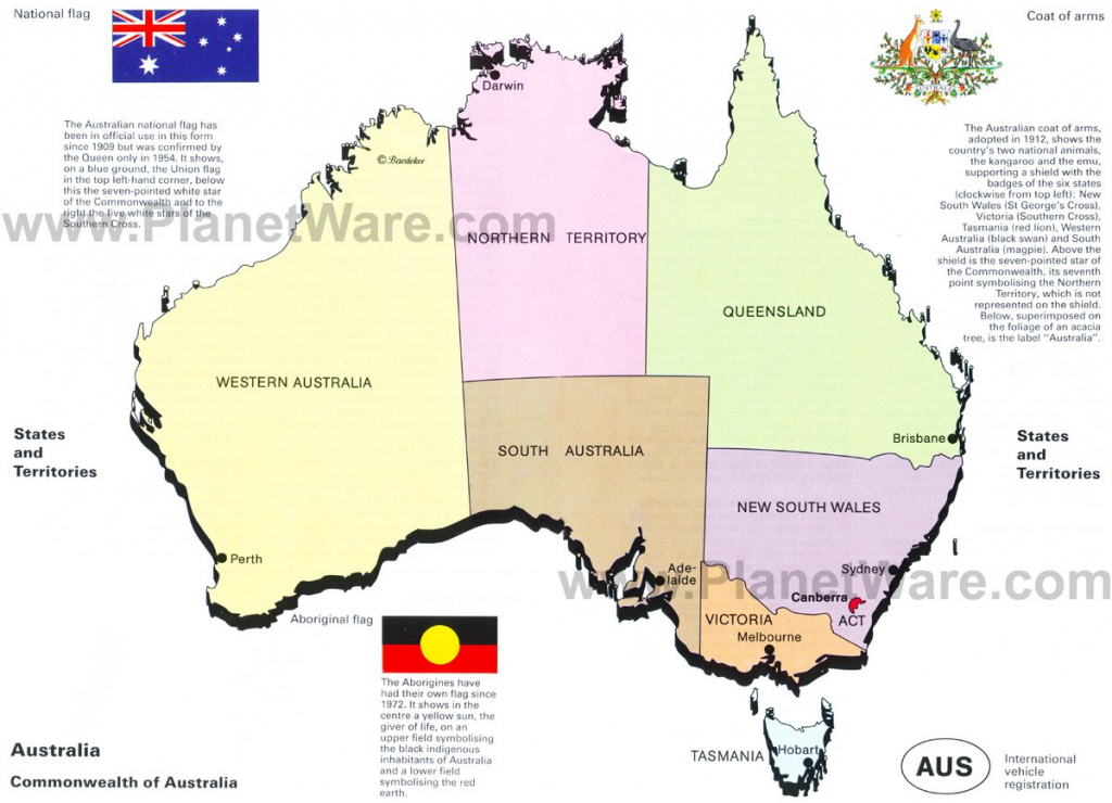 Map Of Australia - States And Territories | Planetware for Printable Map Of Australia With States And Capital Cities