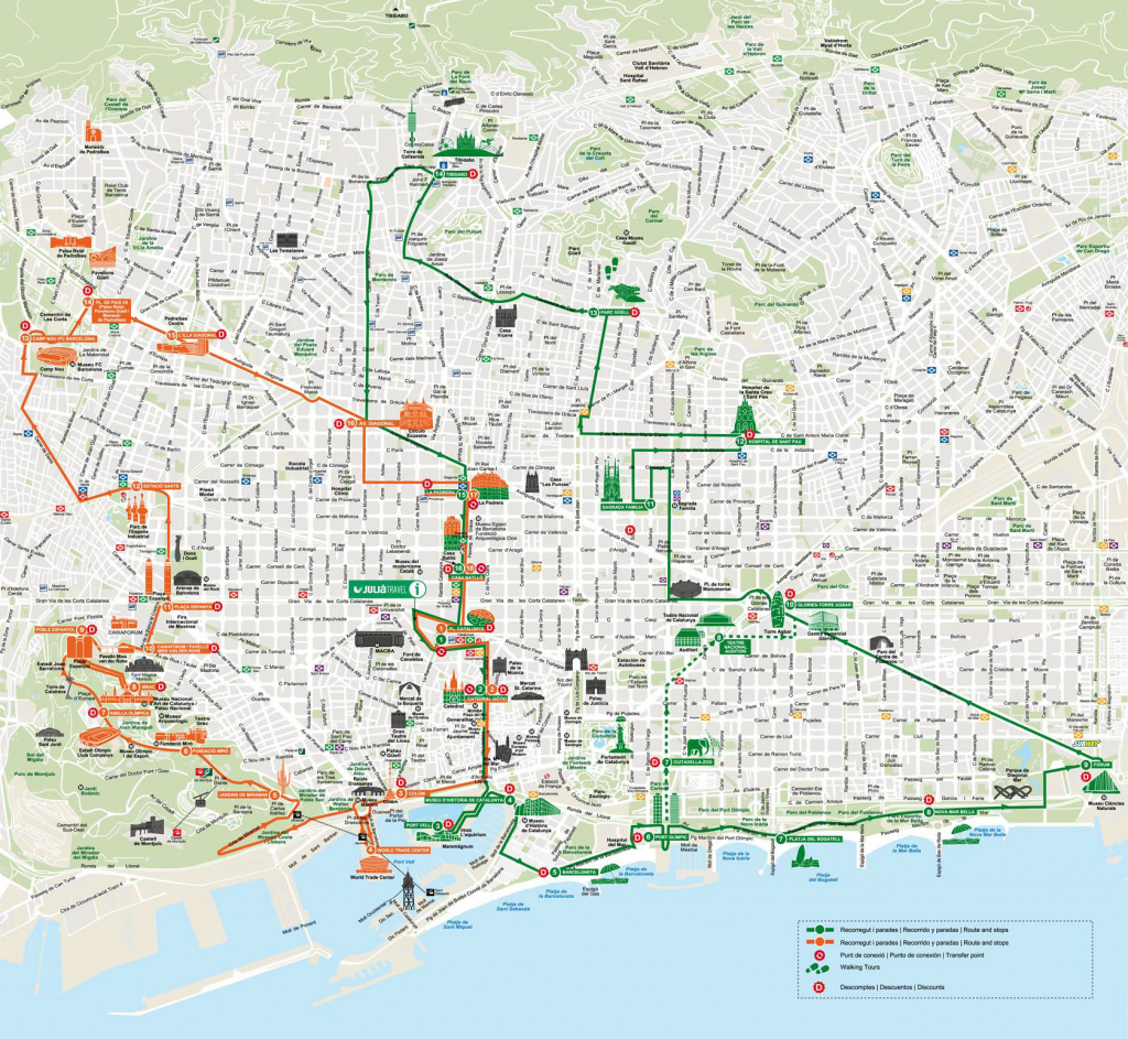 Map Of Barcelona Tourist Attractions, Sightseeing & Tourist Tour in Barcelona Tourist Map Printable