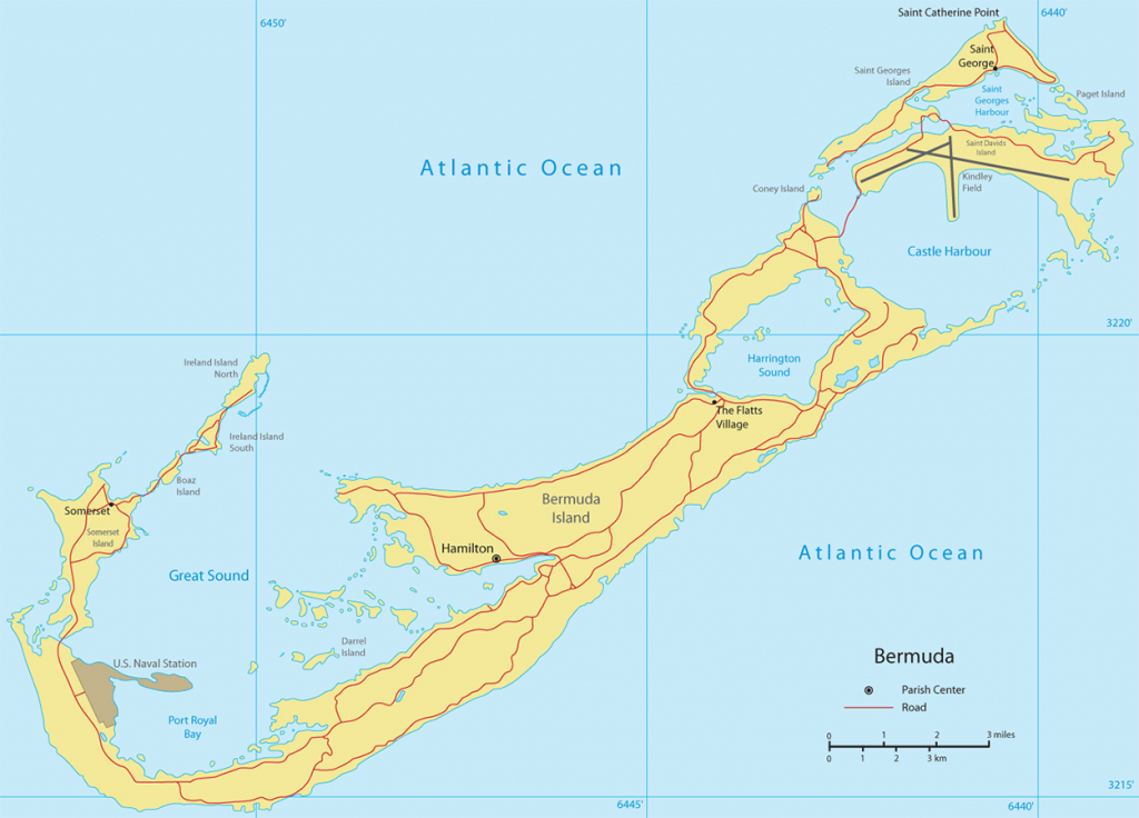 Map Of Bermuda Traiangle Printable Beaches Tourist Satellite Free in Printable Map Of Bermuda