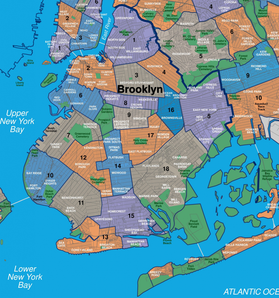 Map Of Brooklyn Neighborhoods with Printable Map Of Brooklyn